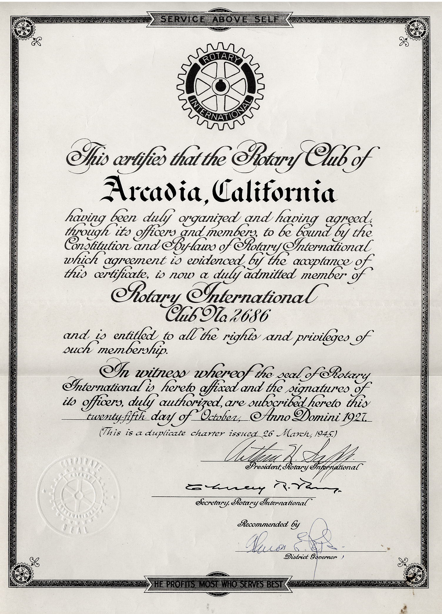 Charter of the Rotary Club of Arcadia